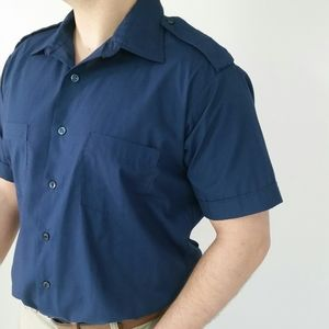 2/$20 NWOT Men's Dress Shirt Military Style Blue